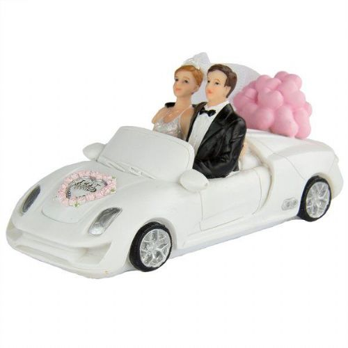 Wedding Figure Bride & Groom In A Car Sport Racing Nascar GP GT